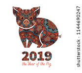 pig is a symbol of the 2019...   Shutterstock .eps vector #1144690247
