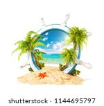 wonderful tropical landscape... | Shutterstock . vector #1144695797