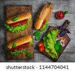 homemade sandwiches sausages... | Shutterstock . vector #1144704041