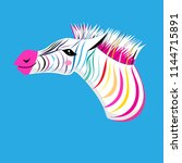 graphic portrait of a zebra on... | Shutterstock .eps vector #1144715891