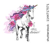 portrait of a magical unicorn... | Shutterstock .eps vector #1144717571