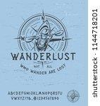 font wanderlust. craft retro... | Shutterstock .eps vector #1144718201