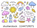 sea  ocean and weather stickers ... | Shutterstock .eps vector #1144719071
