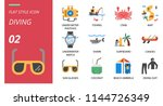 diving icon pack flat style.... | Shutterstock .eps vector #1144726349