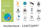 universe icon pack flat style.... | Shutterstock .eps vector #1144726997
