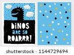 cute abstract black dinosaur... | Shutterstock .eps vector #1144729694