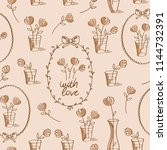 simple floral seamless pattern... | Shutterstock .eps vector #1144732391