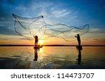 Silhouette Fisherman Fishing...