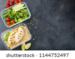 healthy meal prep containers... | Shutterstock . vector #1144752497