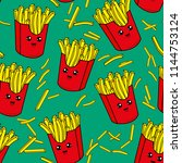 cute kids french fries pattern... | Shutterstock .eps vector #1144753124