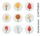 Set Of Autumn Trees Icons In...
