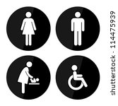 black circle toilet sign with... | Shutterstock . vector #114475939
