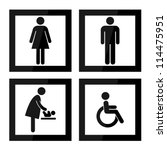 black square toilet sign with... | Shutterstock . vector #114475951