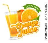 natural orange juice label... | Shutterstock .eps vector #1144761887