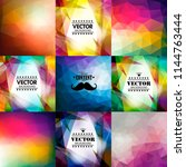 set of nine colorful abstract... | Shutterstock .eps vector #1144763444