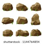 rocks and stones set with grass ... | Shutterstock .eps vector #1144764854