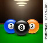 billiard banner three balls | Shutterstock .eps vector #1144768304