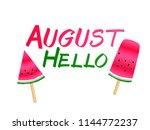 red watermelon slices ice cream ... | Shutterstock .eps vector #1144772237