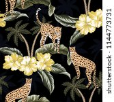 cheetah  yellow hibiscus... | Shutterstock .eps vector #1144773731