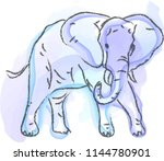 happy cute watercolor blue... | Shutterstock .eps vector #1144780901