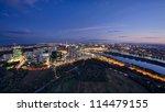 aerial view of Vienna cityscape, Austria. night scene - stock photo