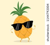 funny pineapple with sunglasses | Shutterstock .eps vector #1144792004