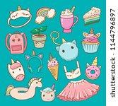 unicorn vector cartoon kids...   Shutterstock .eps vector #1144796897