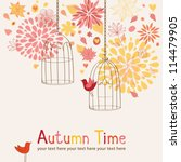 autumn background with cages... | Shutterstock .eps vector #114479905