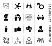 set of 16 social filled and... | Shutterstock .eps vector #1144804514