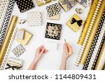 woman writing greeting card for ... | Shutterstock . vector #1144809431