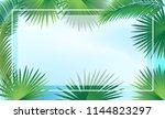 sukkot palm tree leaves frame ... | Shutterstock .eps vector #1144823297