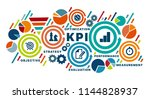 banner kpi concept with icons.... | Shutterstock .eps vector #1144828937