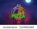 night city. sign neon. pizza... | Shutterstock .eps vector #1144832684