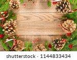 christmas background with fir... | Shutterstock . vector #1144833434