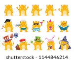 cute monster character with... | Shutterstock .eps vector #1144846214
