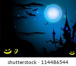 scary halloween night... | Shutterstock .eps vector #114486544