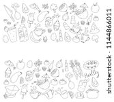 pattern with healthy food.... | Shutterstock .eps vector #1144866011