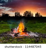fireplace in forest at dusk the ... | Shutterstock . vector #114487045