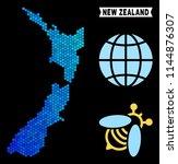 blue hexagon new zealand map.... | Shutterstock .eps vector #1144876307