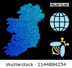 blue hexagon ireland island map.... | Shutterstock .eps vector #1144884254