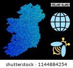 blue hexagon ireland island map.... | Shutterstock .eps vector #1144884254