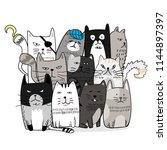 cute cat hand drawn cartoon... | Shutterstock .eps vector #1144897397