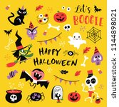 happy halloween design elements.... | Shutterstock .eps vector #1144898021