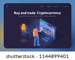 buy and trade cryptocurrency.... | Shutterstock .eps vector #1144899401