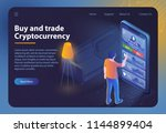 buy and trade cryptocurrency.... | Shutterstock .eps vector #1144899404