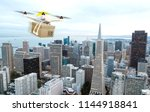 concept of drone package...   Shutterstock . vector #1144918841