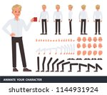 man wear white shirt character... | Shutterstock .eps vector #1144931924