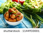 crispy grilled chicken and beef ... | Shutterstock . vector #1144933001