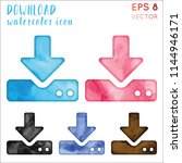 download watercolor icon set.... | Shutterstock .eps vector #1144946171