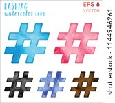 hashtag watercolor icon set.... | Shutterstock .eps vector #1144946261